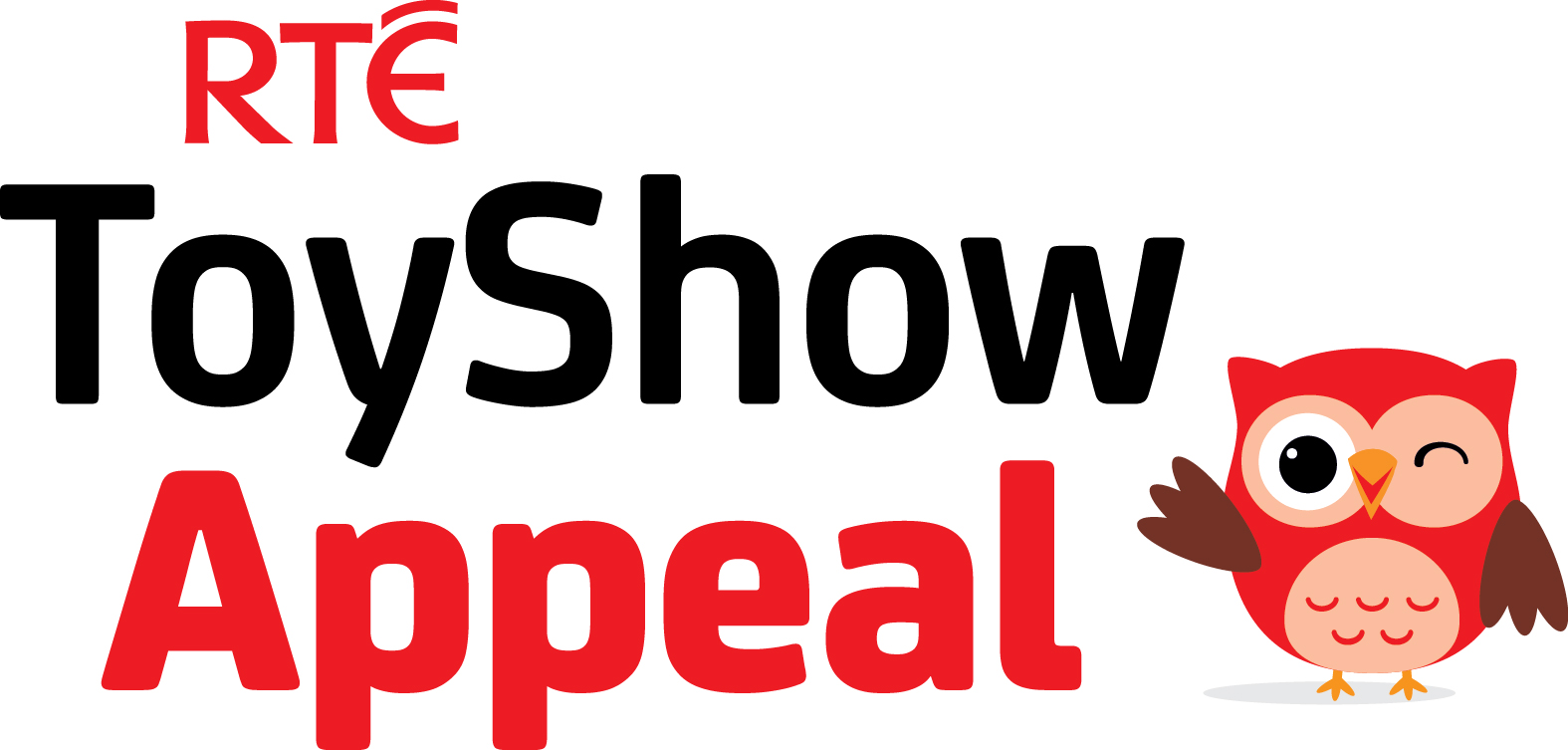 Words RTE Toy show appeal in black and red text with owl logo